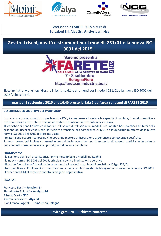 Locandina Work-shop Farete 2015