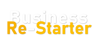 Logo business re starter su sfondo nero